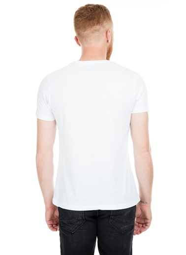 Five Pocket Five Pocket 8098 Bisiklet Yaka Kısa Kol Baskılı Haki Erkek Tshirt Beyaz